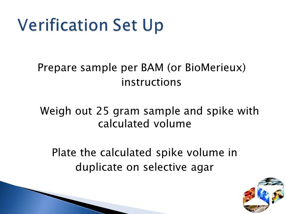 Verification Set Up Prepare sample per BAM (or BioMerieux)
