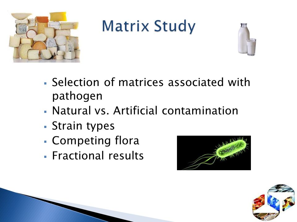 Matrix Study Selection of matrices associated with pathogen
