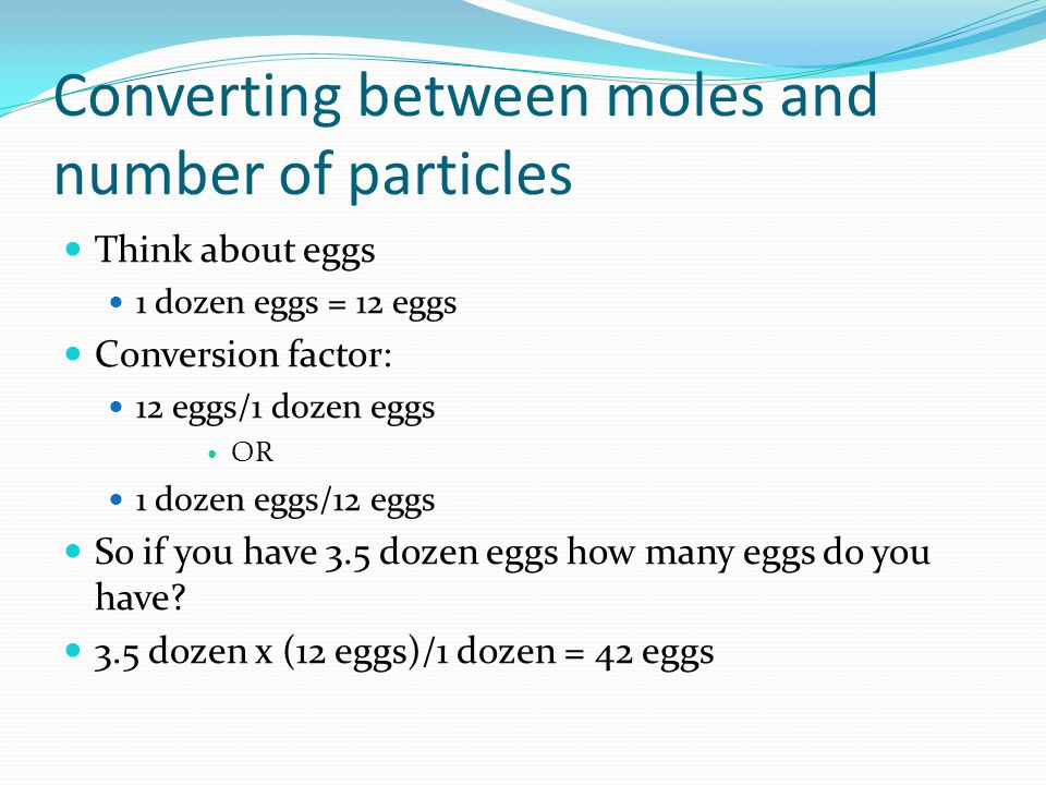Converting between moles and number of particles
