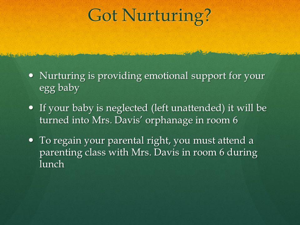 Got Nurturing Nurturing is providing emotional support for your egg baby.