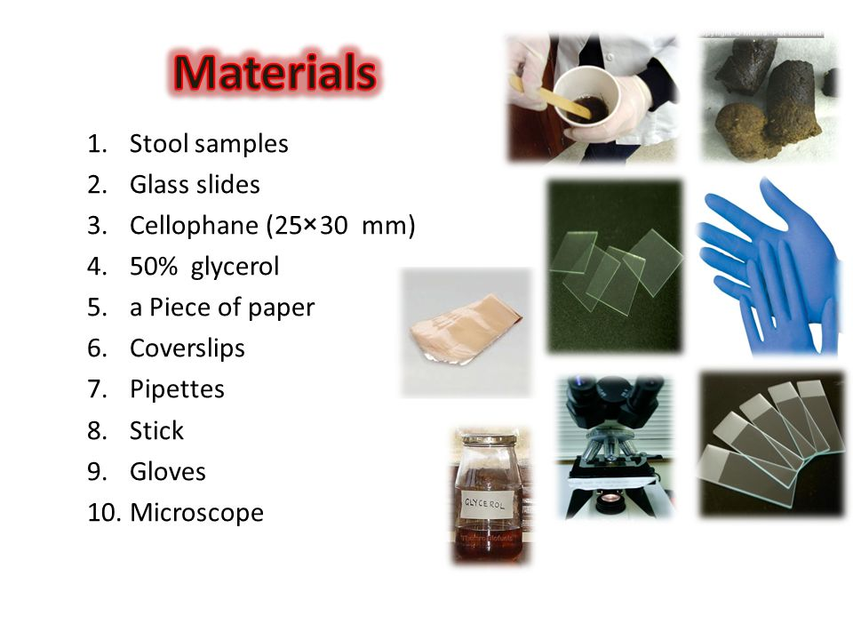 Materials Stool samples Glass slides Cellophane (25×30 mm)