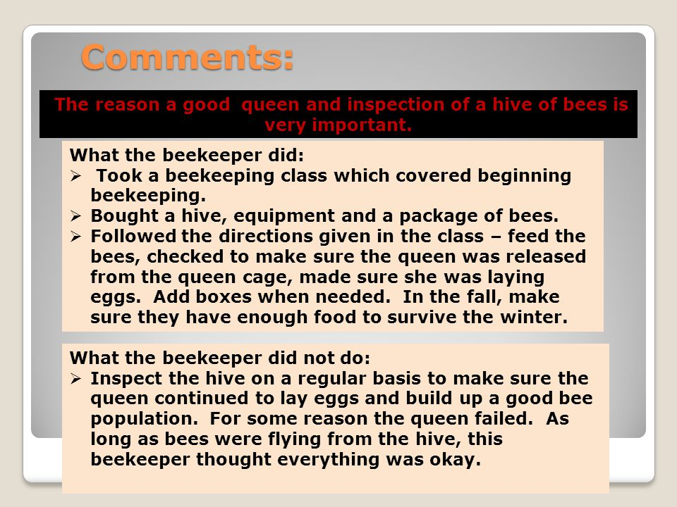 Comments: The reason a good queen and inspection of a hive of bees is very important. What the beekeeper did: