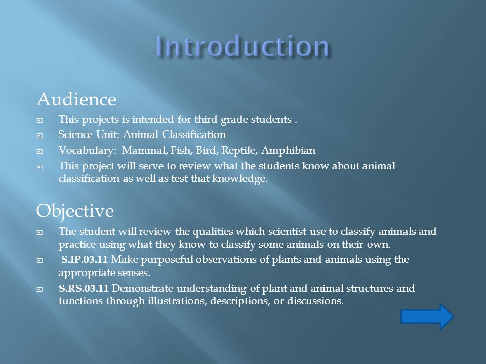 Introduction Audience Objective
