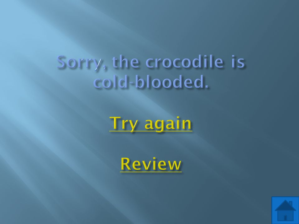 Sorry, the crocodile is cold-blooded. Try again Review