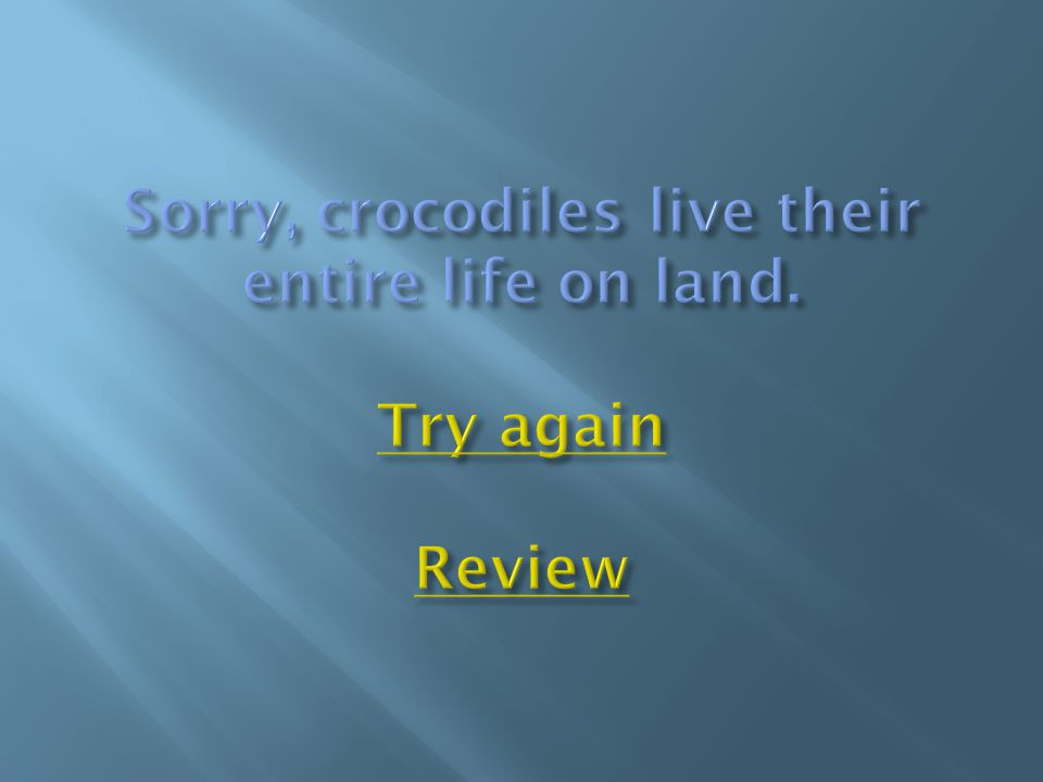 Sorry, crocodiles live their entire life on land. Try again Review