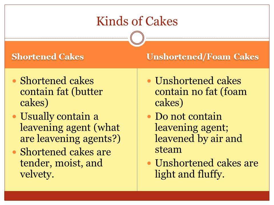 Kinds of Cakes Shortened cakes contain fat (butter cakes)