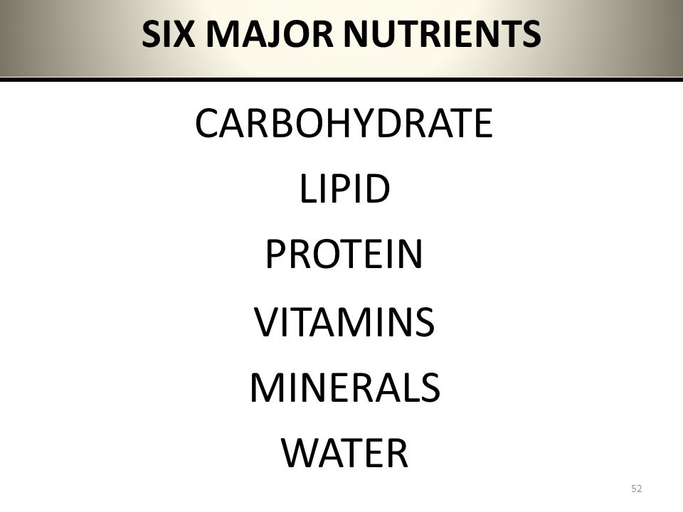 SIX MAJOR NUTRIENTS CARBOHYDRATE LIPID PROTEIN VITAMINS MINERALS WATER
