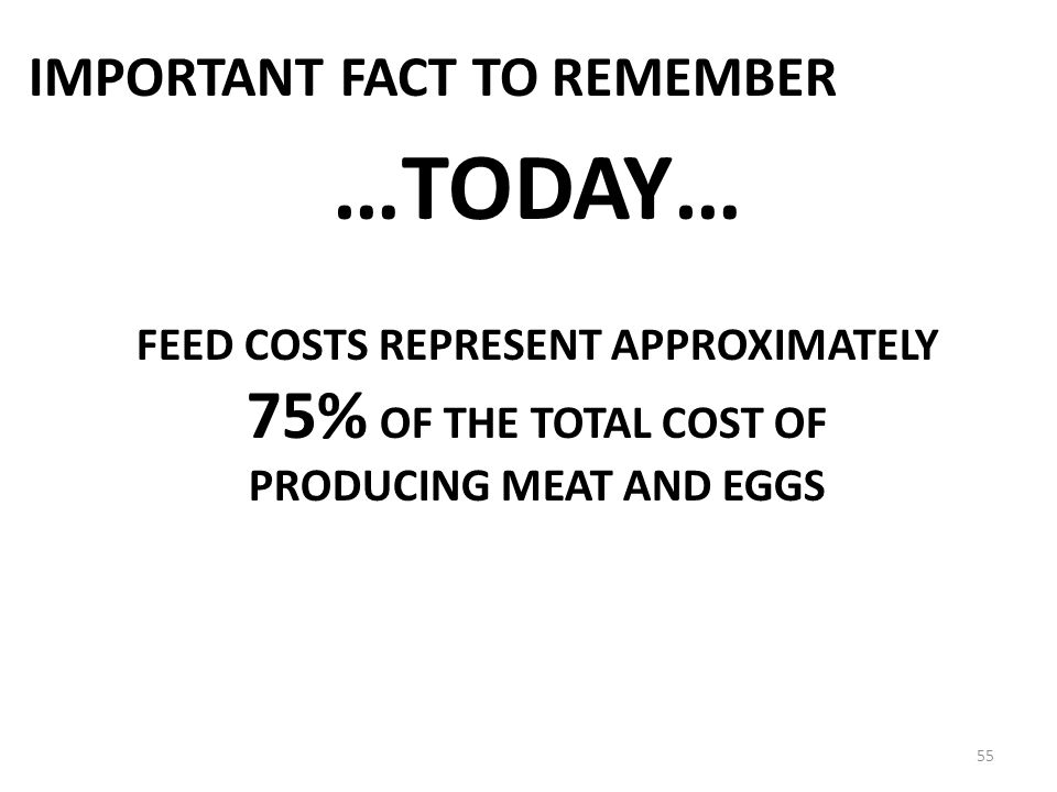 FEED COSTS REPRESENT APPROXIMATELY PRODUCING MEAT AND EGGS