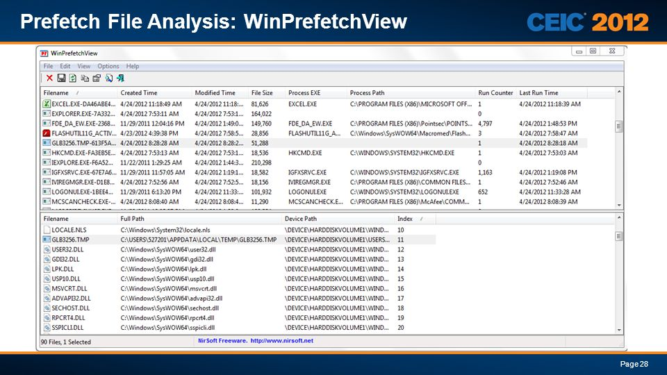 Prefetch File Analysis: WinPrefetchView