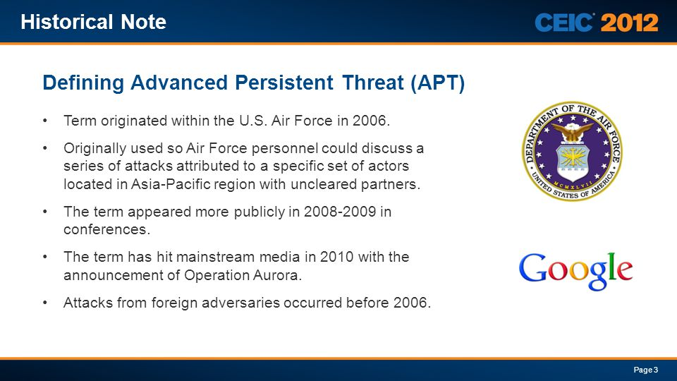 Defining Advanced Persistent Threat (APT)