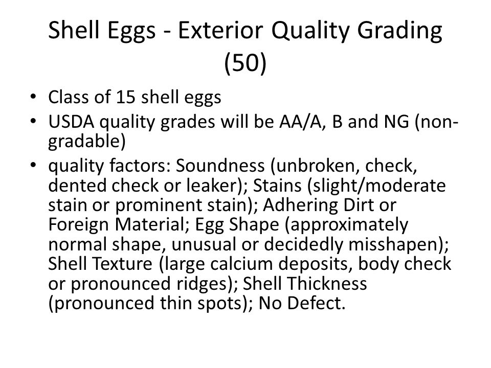 Shell Eggs - Exterior Quality Grading (50)