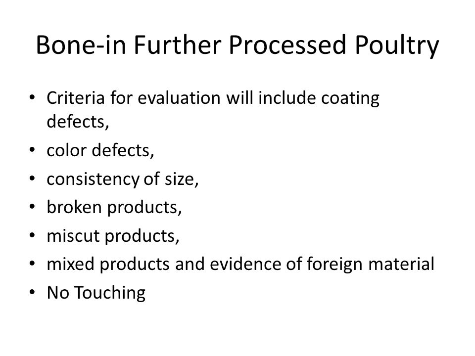 Bone-in Further Processed Poultry