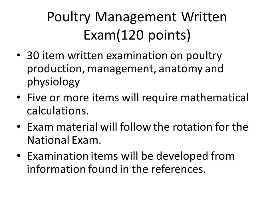 Poultry Management Written Exam(120 points)