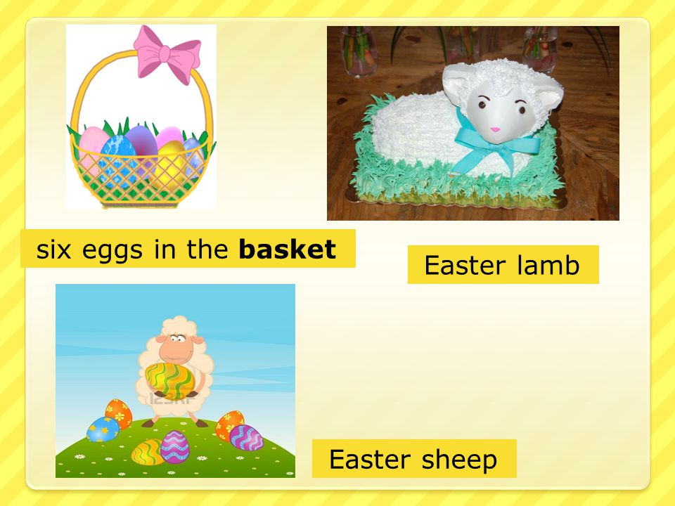 six eggs in the basket Easter lamb Easter sheep