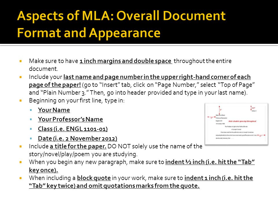 Aspects of MLA: Overall Document Format and Appearance