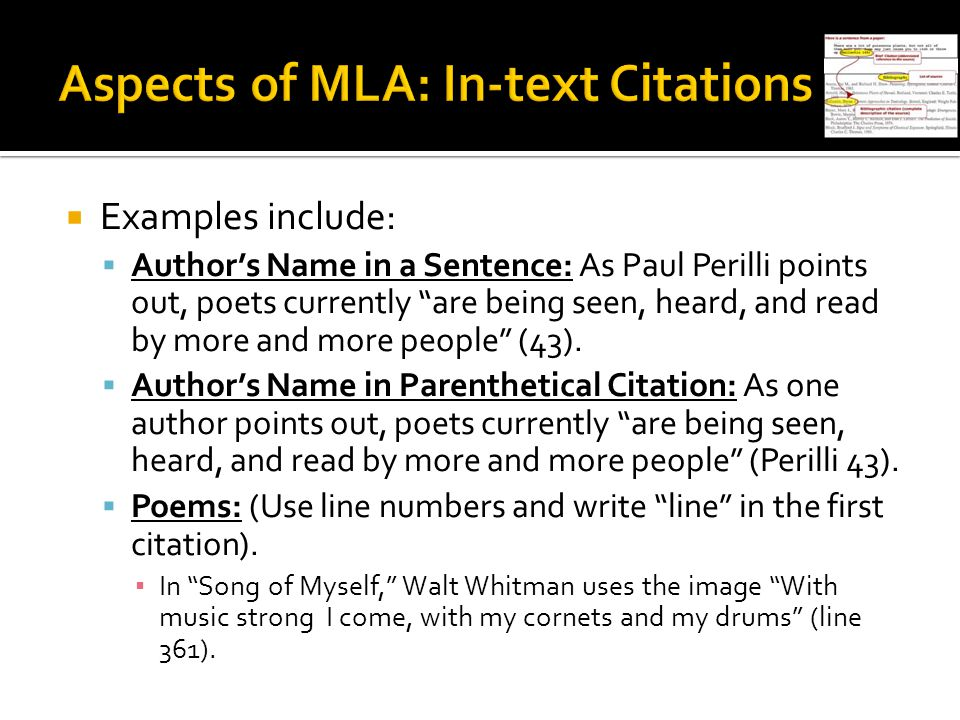 Aspects of MLA: In-text Citations