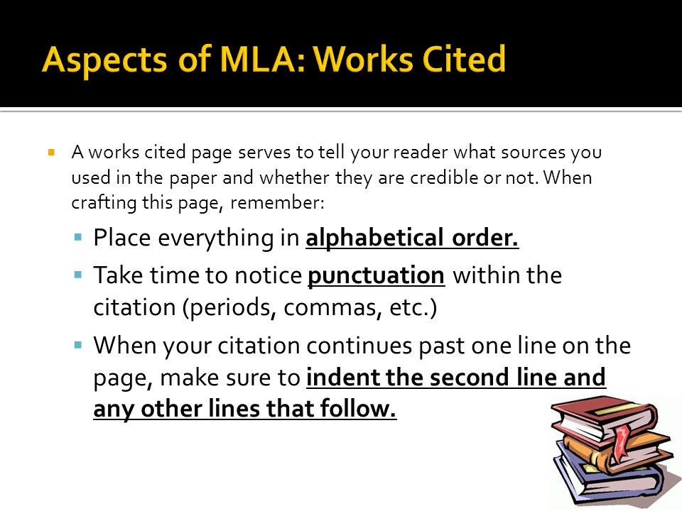 Aspects of MLA: Works Cited