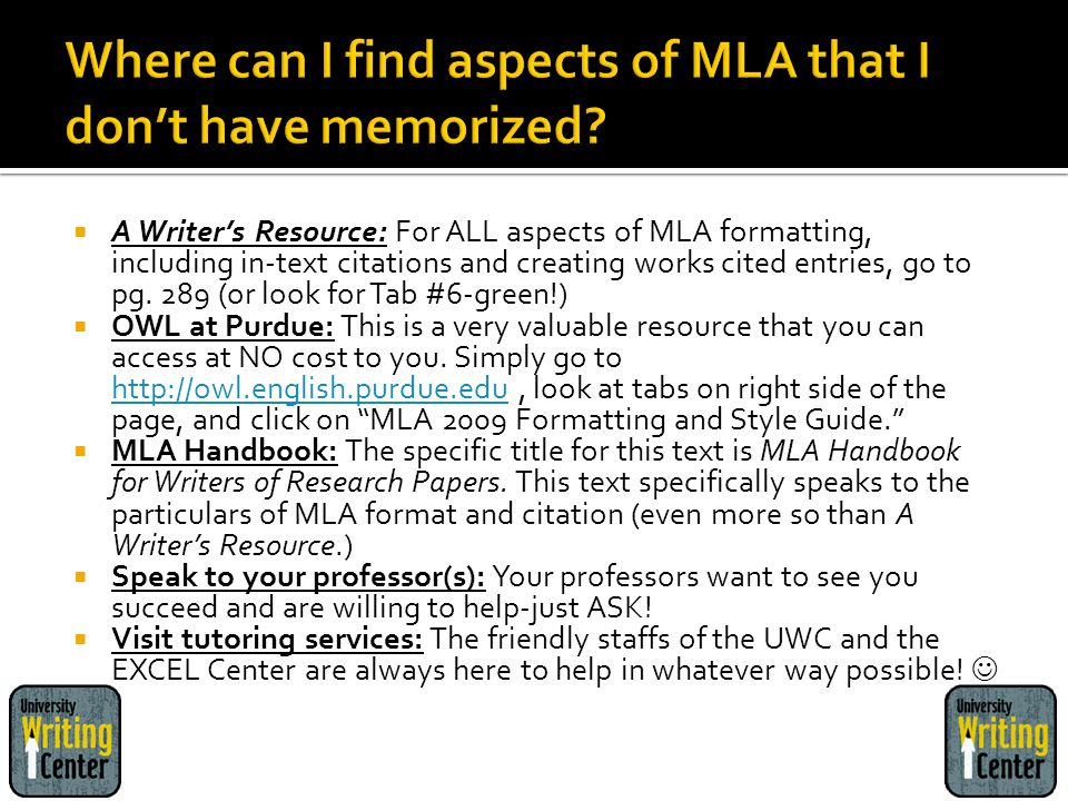 Where can I find aspects of MLA that I don't have memorized