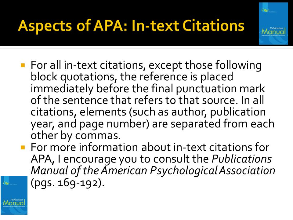 Aspects of APA: In-text Citations