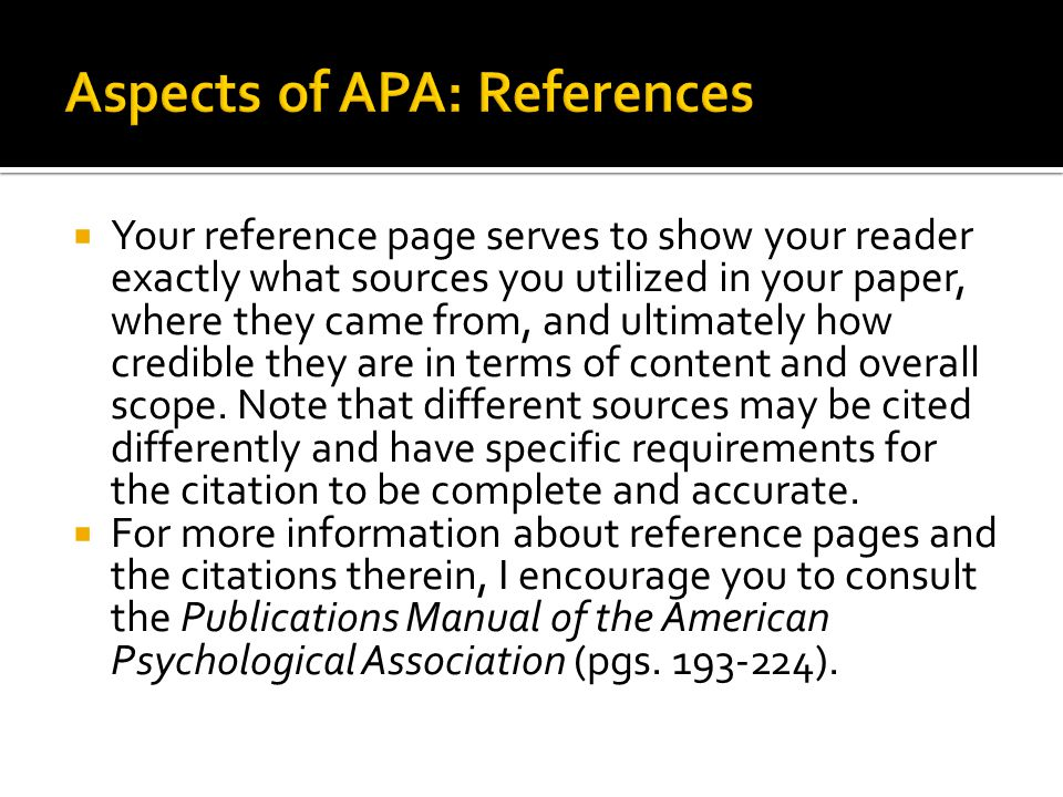 Aspects of APA: References