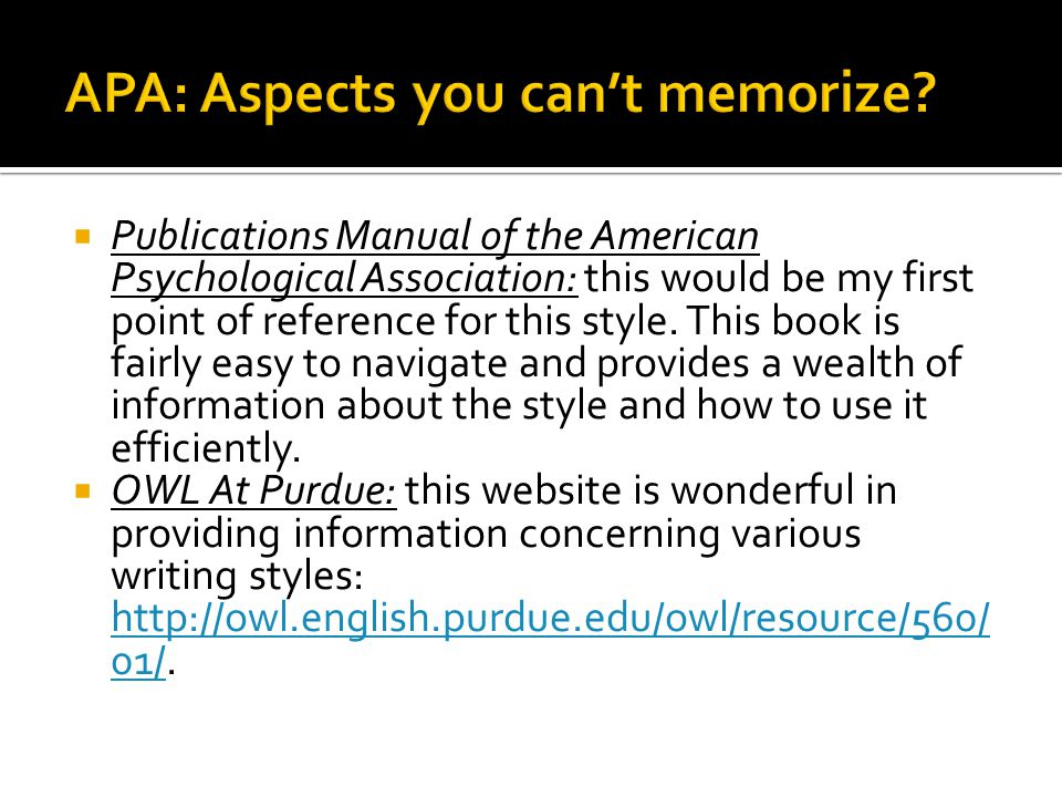 APA: Aspects you can't memorize