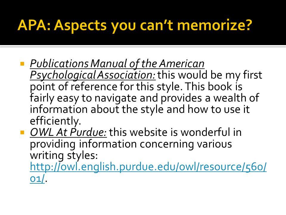 APA: Aspects you can't memorize