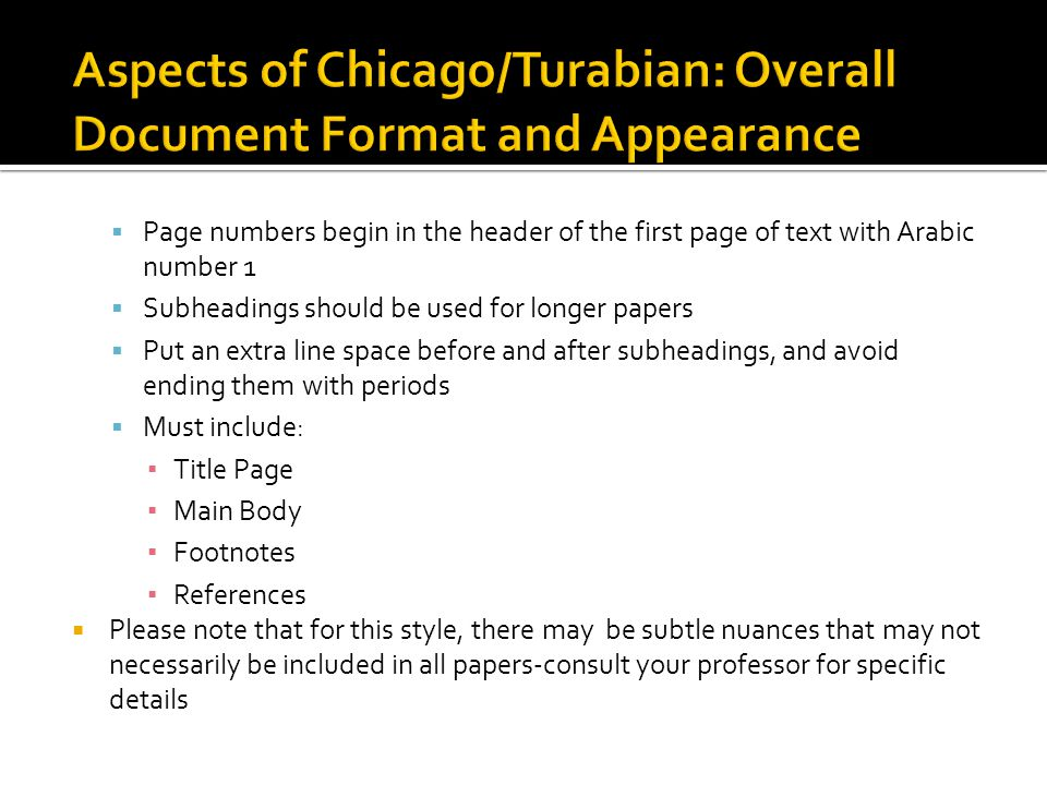 Aspects of Chicago/Turabian: Overall Document Format and Appearance