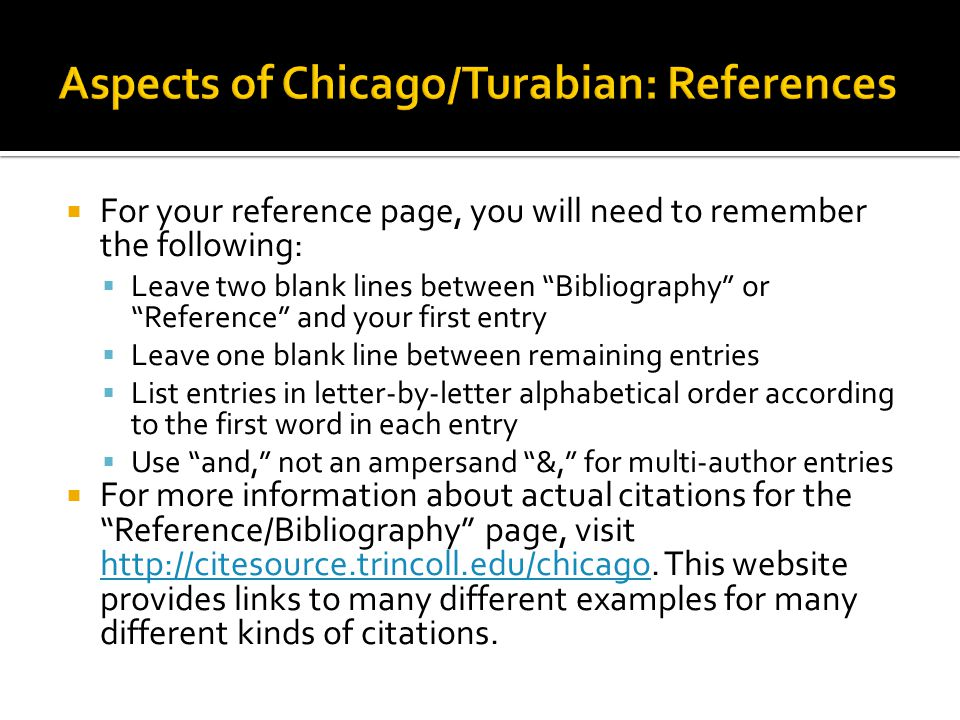 Aspects of Chicago/Turabian: References