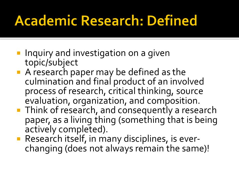 Academic Research: Defined