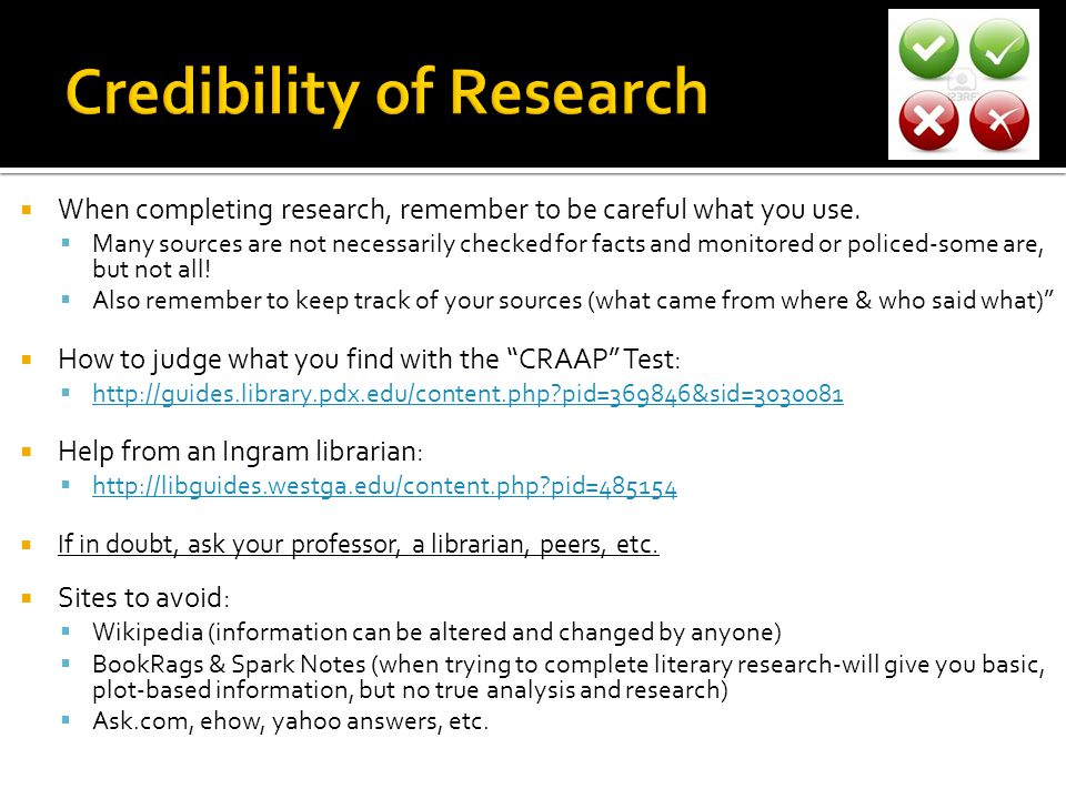 Credibility of Research