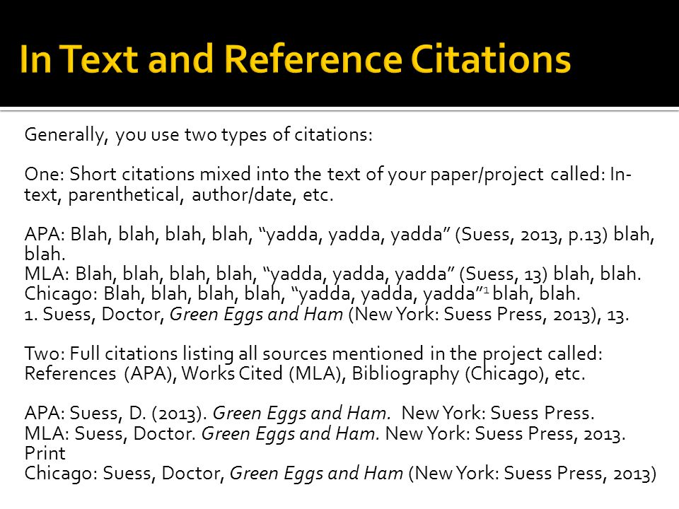 In Text and Reference Citations