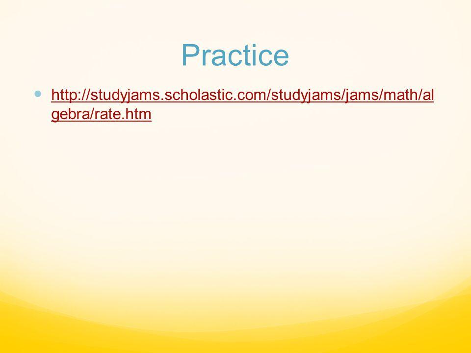 Practice http://studyjams.scholastic.com/studyjams/jams/math/al gebra/rate.htm