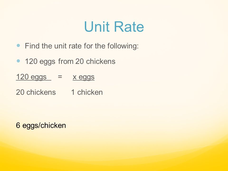 Unit Rate Find the unit rate for the following: