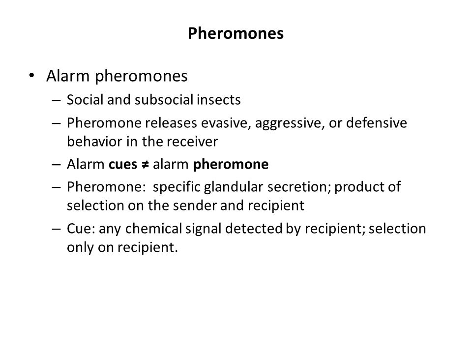 Pheromones Alarm pheromones Social and subsocial insects