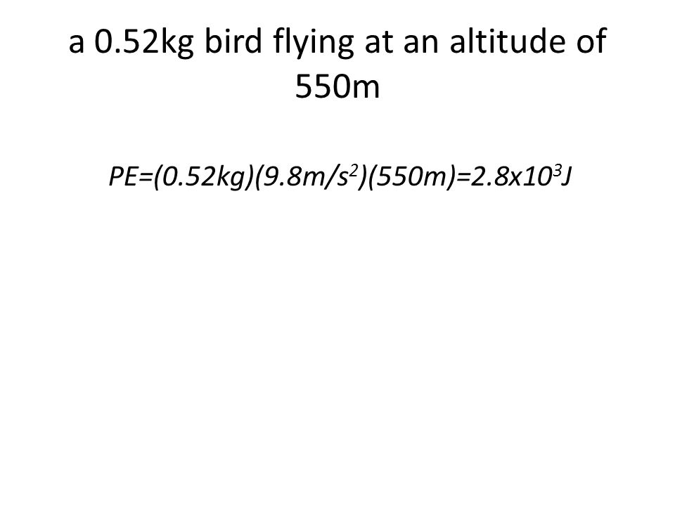 a 0.52kg bird flying at an altitude of 550m