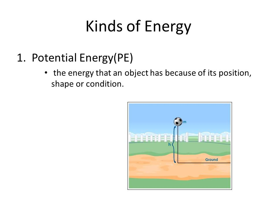 Kinds of Energy 1. Potential Energy(PE)