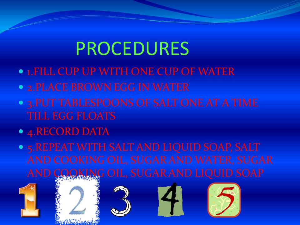 PROCEDURES 1.FILL CUP UP WITH ONE CUP OF WATER