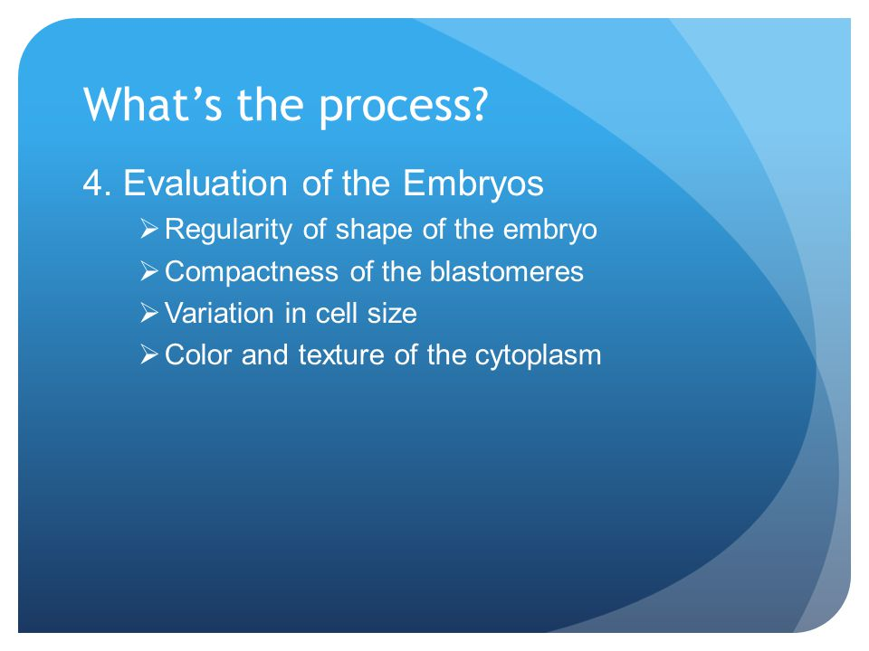 What's the process 4. Evaluation of the Embryos