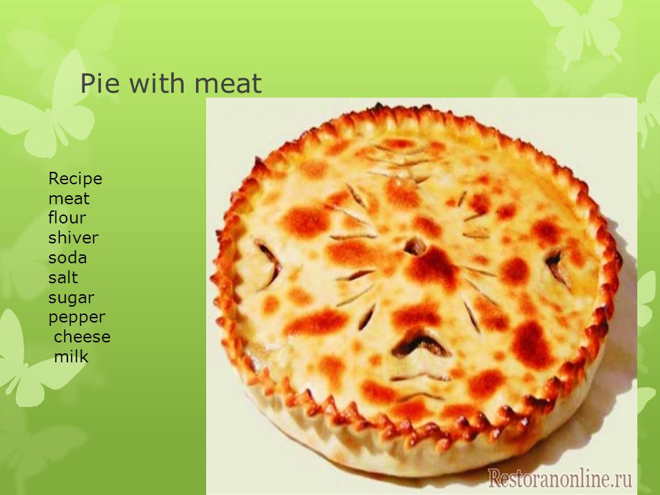 Pie with meat Recipe meat flour shiver soda salt sugar pepper cheese