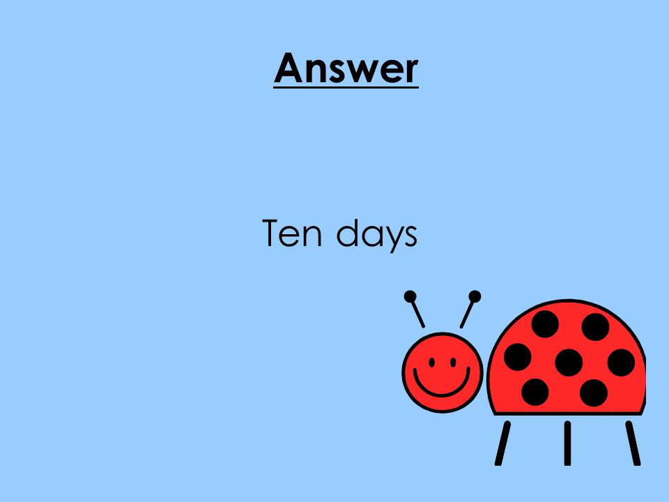 Answer Ten days