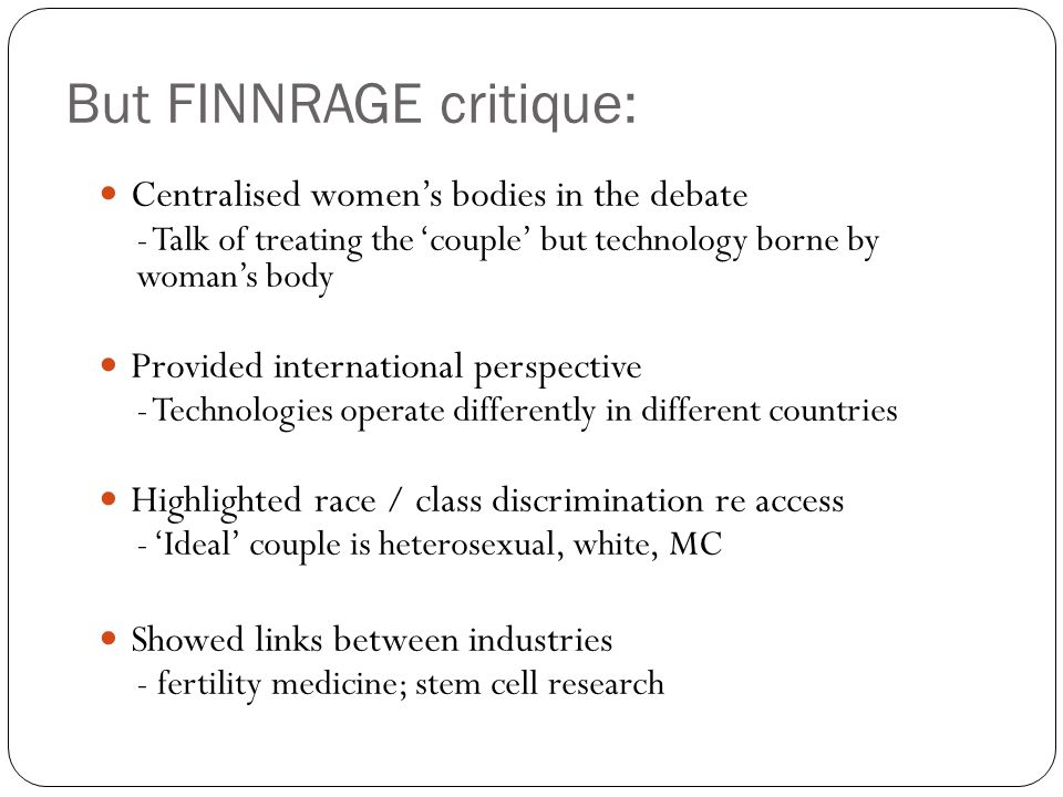 But FINNRAGE critique: