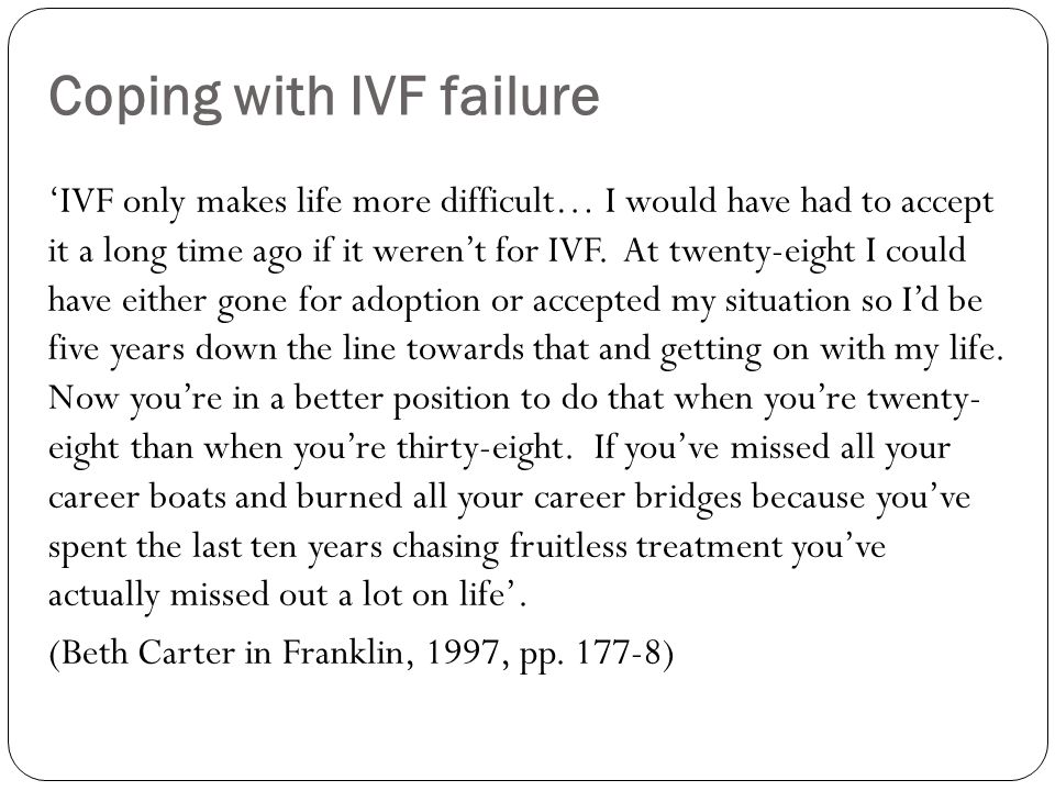 Coping with IVF failure