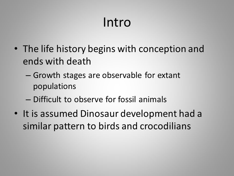 Intro The life history begins with conception and ends with death