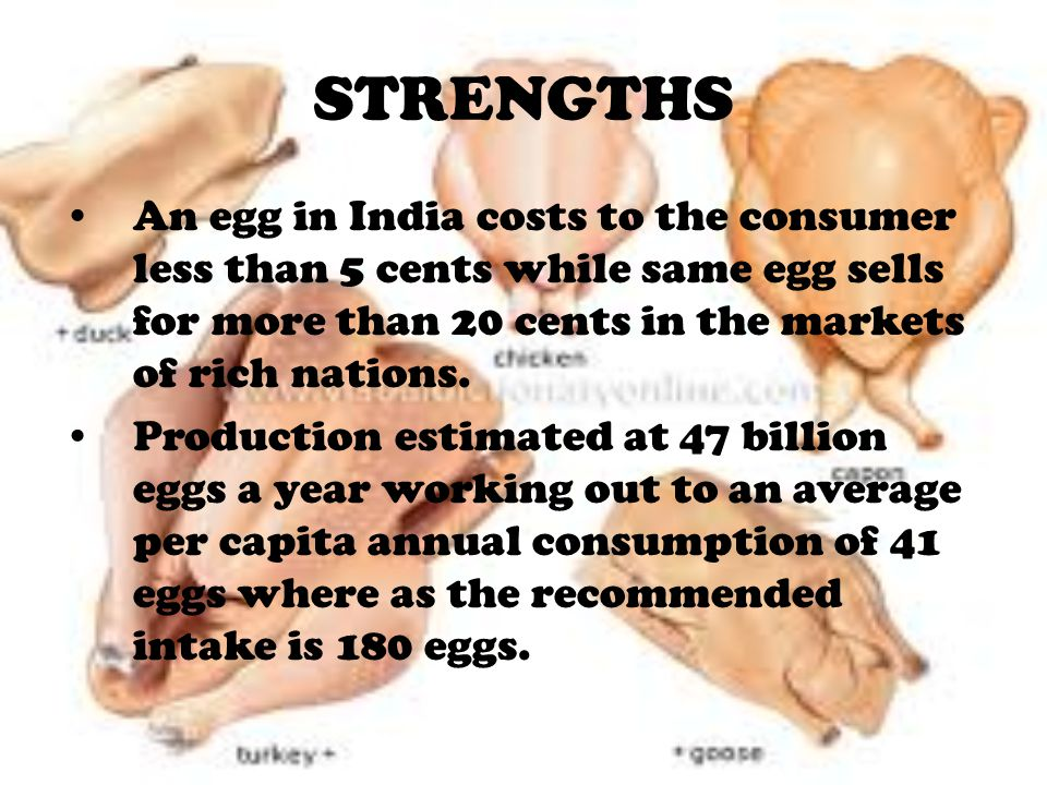STRENGTHS An egg in India costs to the consumer less than 5 cents while same egg sells for more than 20 cents in the markets of rich nations.