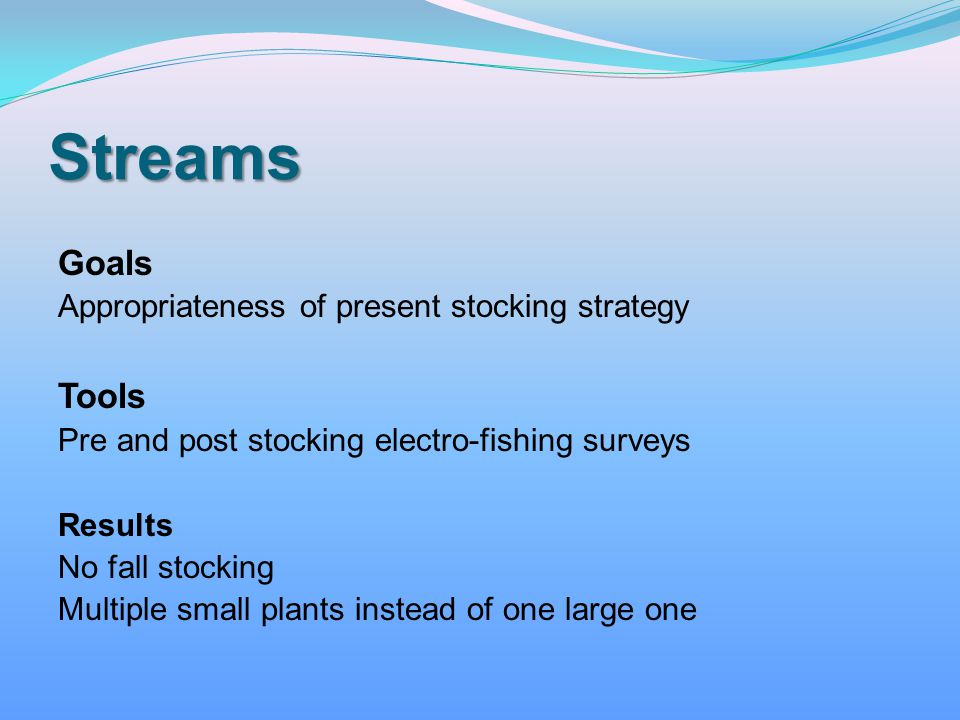 Streams Goals Tools Appropriateness of present stocking strategy