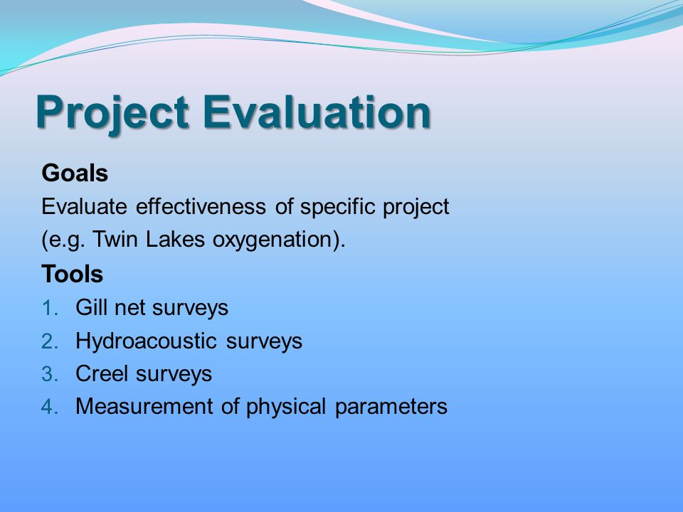 Project Evaluation Goals Tools