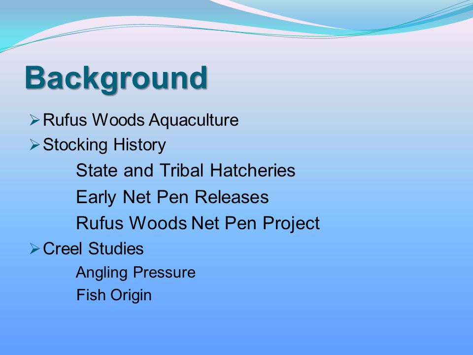 Background Early Net Pen Releases Rufus Woods Aquaculture