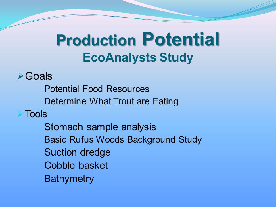 Production Potential EcoAnalysts Study