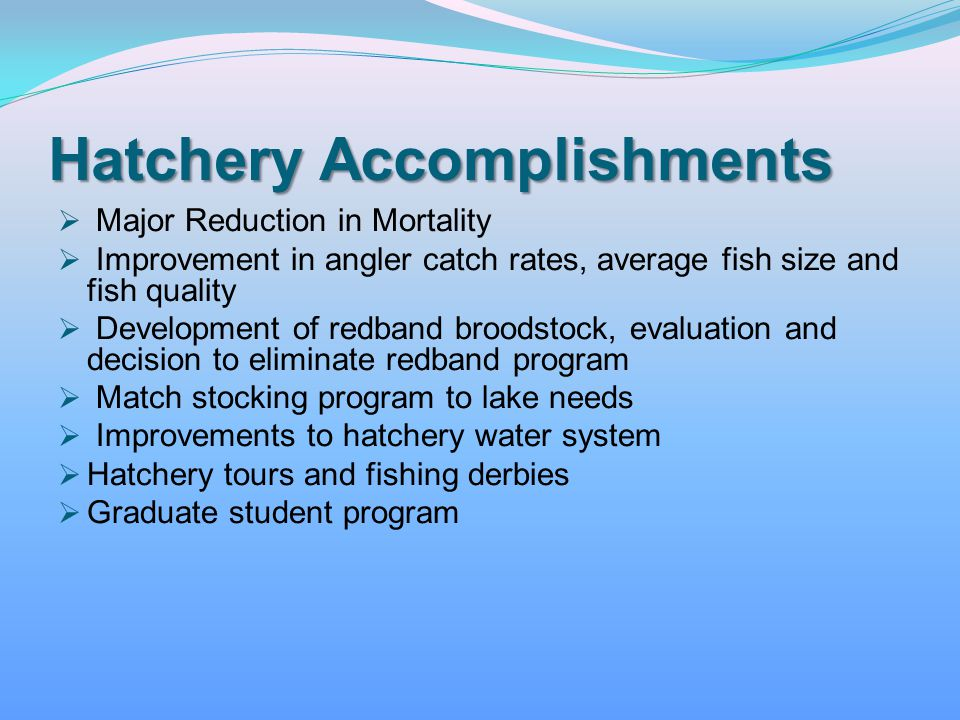 Hatchery Accomplishments