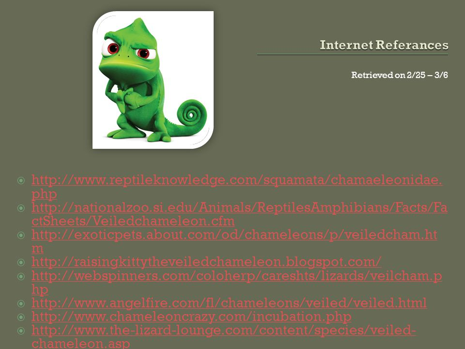 Internet Referances Retrieved on 2/25 – 3/6. http://www.reptileknowledge.com/squamata/chamaeleonidae.php.